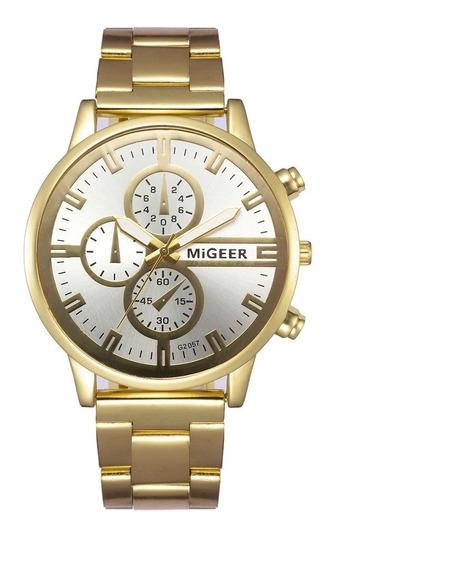 Moda De Luxo Relógio Dos Homens De Aço Inoxidável Dourado