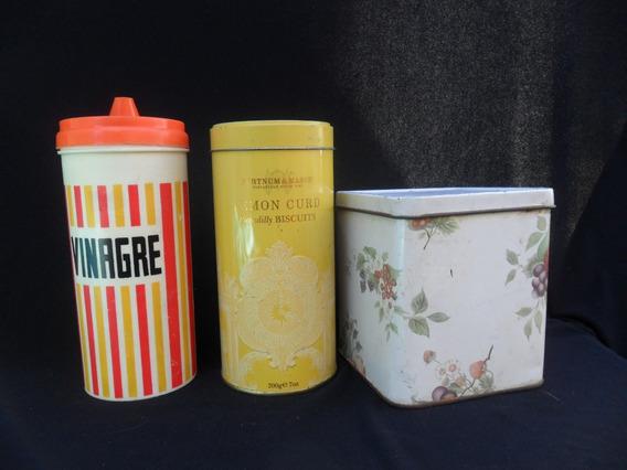 Antiguo 3 Tarro Cocina Retro Vintage Frasco Lata Decoracion