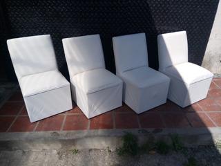 Butacon Simple Puff Con Respaldo Blanco