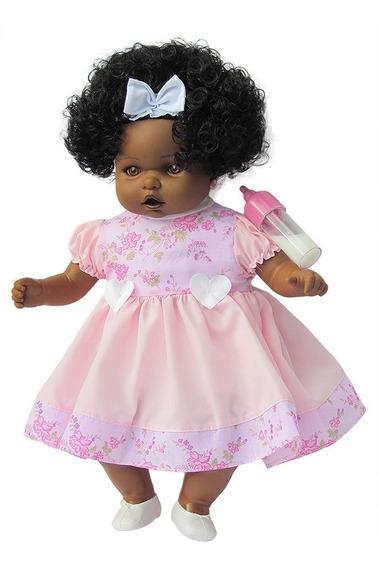 Boneca Com Cabelo Angelina Negra 62 Frases - Milk Brinquedos