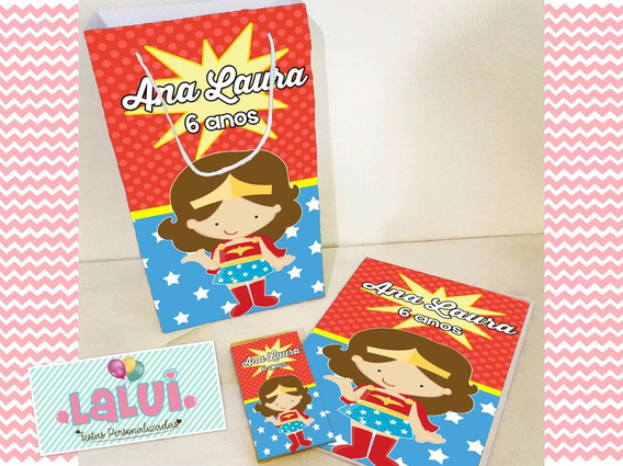 20 Kit Colorir Mulher Maravilha Sacola Revista Personalizado