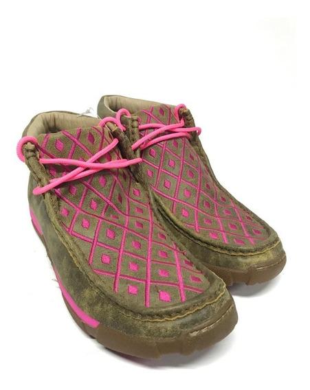 Botina Tenis Destroyer Country Feminino Goyazes Marrom E Pink Com Cadarço 100% Couro - Super Confortável!