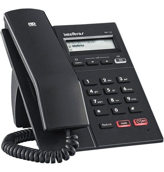 Telefone Ip Poe Voip Tip 125i Intelbras Sip Display Viva-voz