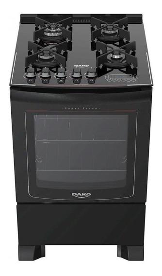 Fogão de piso Dako Turbo Glass 4 queimadores GLP preto 110V/220V porta com visor 82.5L