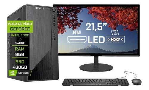 Imagem 1 de 4 de Pc Completo Fácil Intel I5 9400f 8gb Ssd 480gb Monitor 21