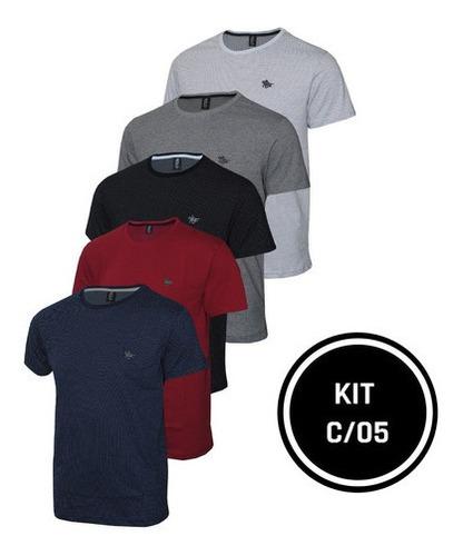 Imagem 1 de 6 de Conjunto 05 Camisetas Malha Pontilhada E Logo  Metalizado