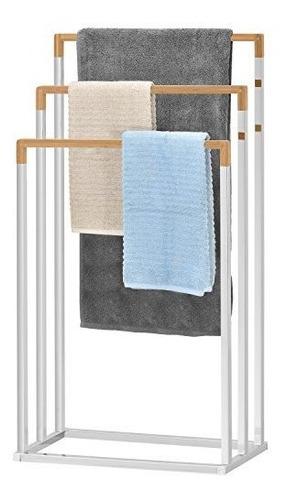 Independiente Cromado 3tier Bamboo Towel Bar Baño Toallero