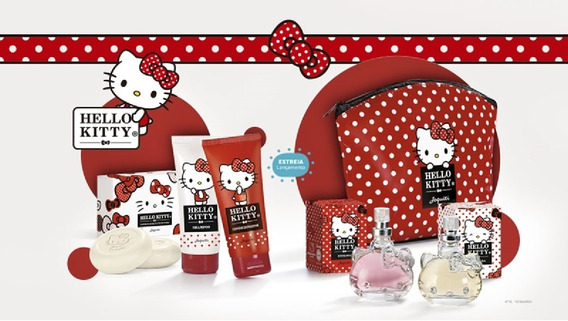 Hello Kitty Jequiti Infantil Colônias + Necessaire + Banho