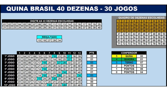 Quina Brasil 40 Dezenas Por 13 Números - 30 Jogos