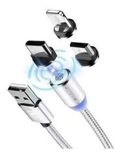 Cabo Carregador Magnético Micro Usb V8, Tipo C, Ou iPhone.