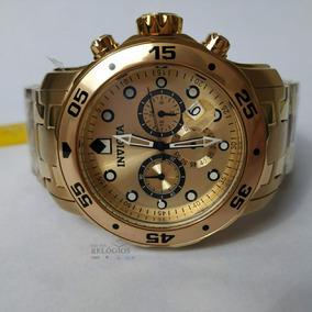 Relógio Invicta Promoção 0074 Pro Diver Dourado B. Ouro 18k
