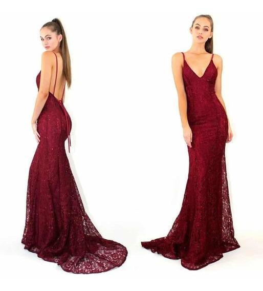 Vestido Largo Fiesta Gala Rojo Borgoña Encaje Sexy Impo