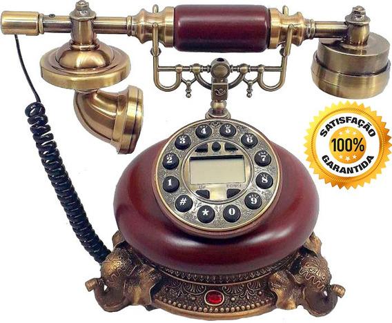 Telefone Fixo Resina Madeira Vintage Antigo Digital Elefante