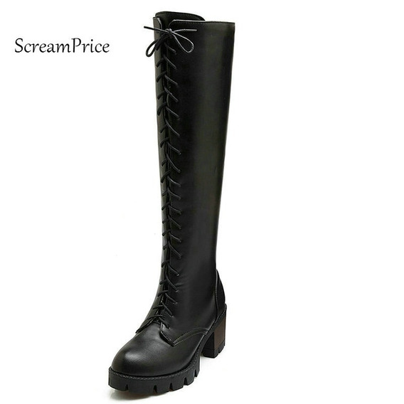 Plataforma De La Mujer Square High Heel Lace Up Riding Boots