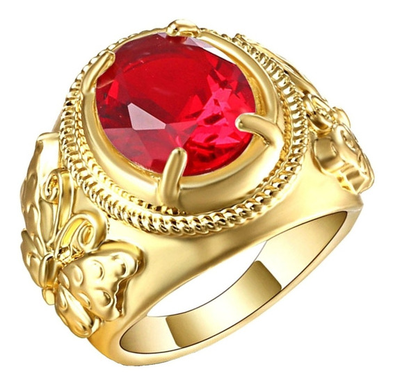 Anel Feminino Grande Cristal Rubi 3 Banhos Ouro 851 P
