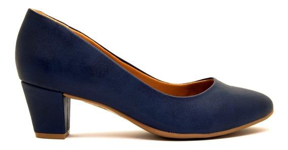 Zapatos Clásicos Mujer Cuero Ecológico Azul Ramarim Taco 5cm