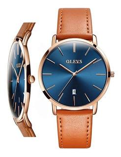 Reloj Elegante Para Hombre Pulso En Cuero Ultradelgado