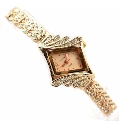 Relógio Feminino Bracelete Dourado Strass Promoção Barato