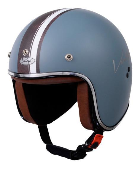 Casco para moto abierto Vértigo Vintage Maya gris mate talle XS