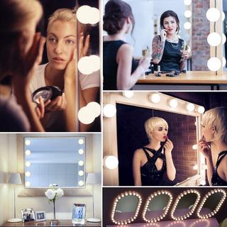 Luces De Espejo De Tocador Para Maquillaje 10 Focos 3 Modos De Iluminación Ajustables