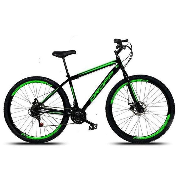 Bicicleta Aro 29 Quadro 19 Aço 21v Freio A Disco Preto/verde