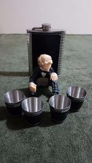 Porta Whisky Em Aço Com Acabamento Em Napa Acompanha 4 Copos