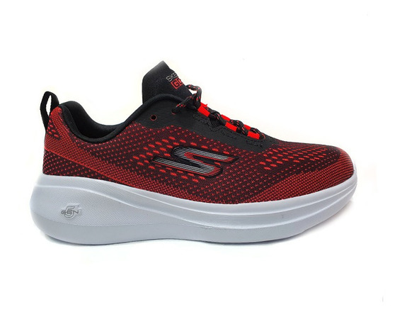 Tenis Skechers Mesh Lace Up Dama Rojo