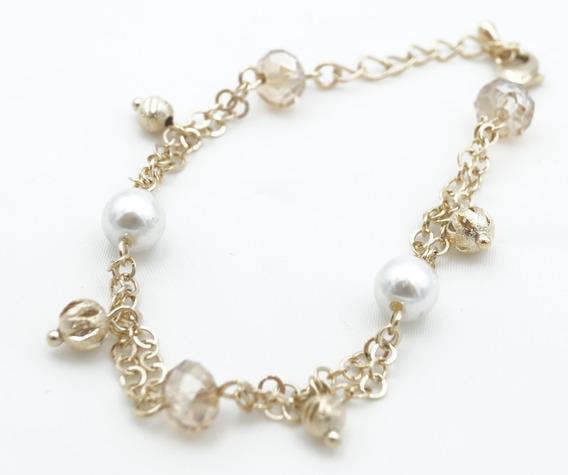 Pulsera Acero Inoxidable Con Perlas Blancas Y Ambar