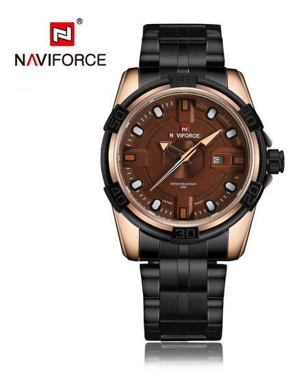 Relógio Naviforce Luminus Gold Original Barato + Superbrinde