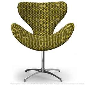 Cadeira Egg Colmeia Amarelo E Preto Com Base Giratória