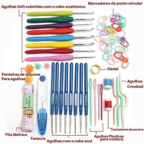 Kit De Crochê 16 Agulhas Cabo Soft + Acessórios + Estojo