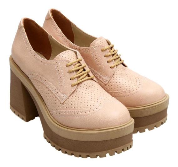 Zapatos Mujer Savage Pu Picado Cordones Taco 9.5cm Base 4.5c