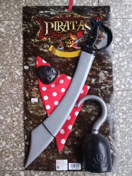 Set Pirata Espada Garfio Bandana Parche Juanalalo Cotillon