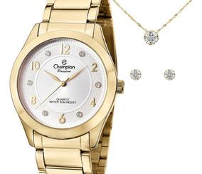 Relógio Champion Feminino Dourado Cn29230d + Kit