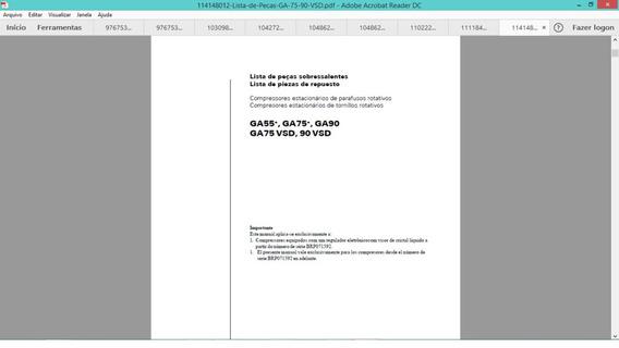 Catálogo De Peças Atlas Copco Gx Ga Xavs Xas186 Ga90vsd
