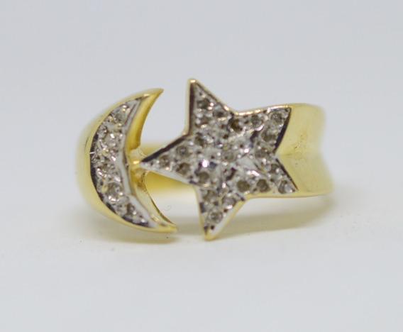 Anel Estrela Lua Cravejado Ouro 18k 750 Brilhantes Aro 14
