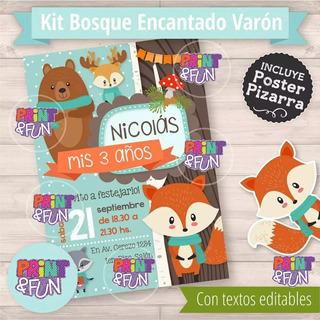 Kit Imprimible Animales Bosque Zorrito Cumpleaños Promo 2x1