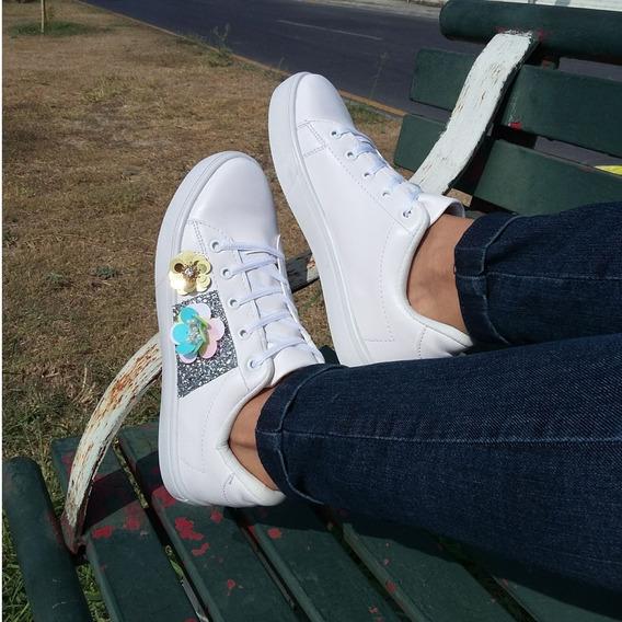 Tenis Sneaker Blanco Moda Para Mujer