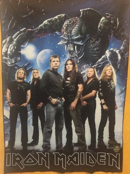 Bandeira Banda Iron Maiden Foto Banda Imagem Eddie Ao Fundo