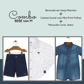 Combo Bebe Menino Tam M = Bermuda + Camisa + Macacão Curto