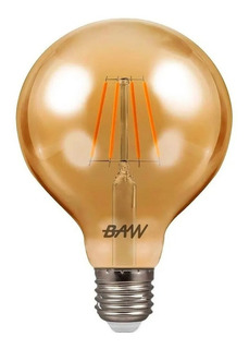 Lampara Globo Ambar 6w Filamento Led Vintage Calida E27 Baw