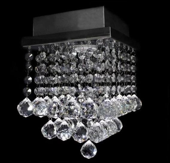 Lustre De Cristal Base Inox Brilhante