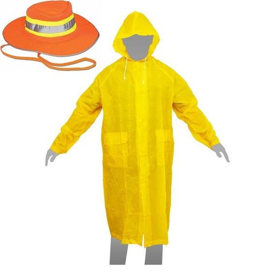 1 Poncho Gabardina Larga Impermeable Grande 110cm + Sombrero