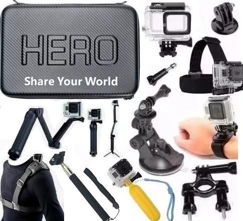 Kit P Gopro Hero 5 Hero 6 Hero 7 Black Caixa Estanque Mala