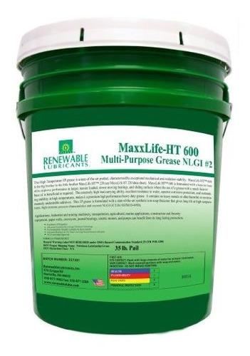 Imagen 1 de 1 de Renewable Lubricants Maxxlife Ht 600 High Temperature Nlgi 2
