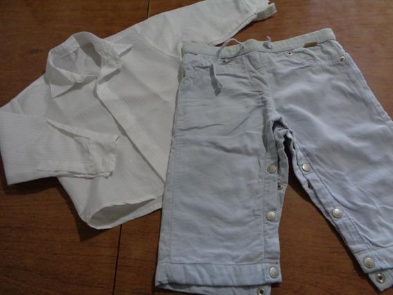 Pantalónn Minimimo + Camisa Blanca Talle Hasta 1 Año