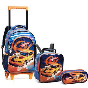 Kit Mochila Escolar Infantil Carros Racing Seanite