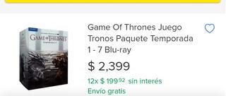 Game Of Thrones Juego Tronos, Paq De Temporada 1-7 Blu-ray