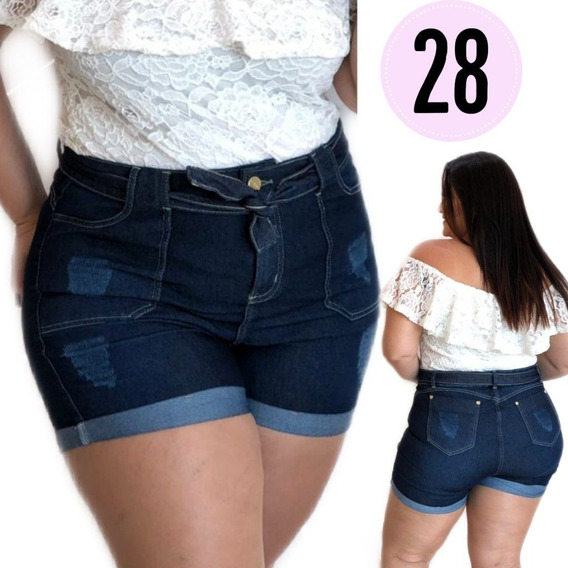 Short Jeans Lycra Plus Size Tamanho Grande Gordinha Mod 28