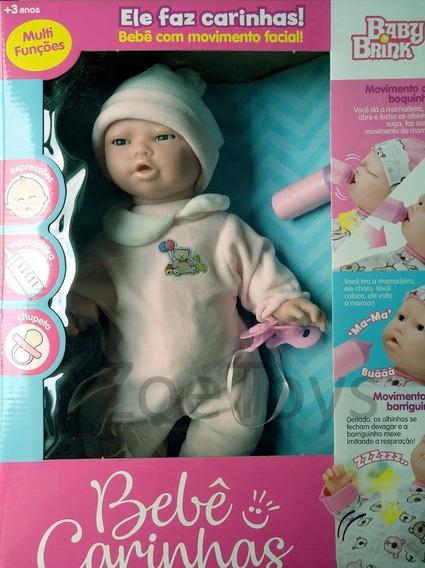 Boneca Infantil Bebê Carinhas Move O Rosto Baby Brink